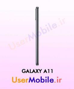 گوشی موبایل سامسونگ گلکسی A11 رنگ مشکی از نمای بغل سمت چپ