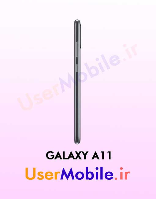گوشی موبایل سامسونگ گلکسی A11 رنگ مشکی از نمای بغل سمت راست