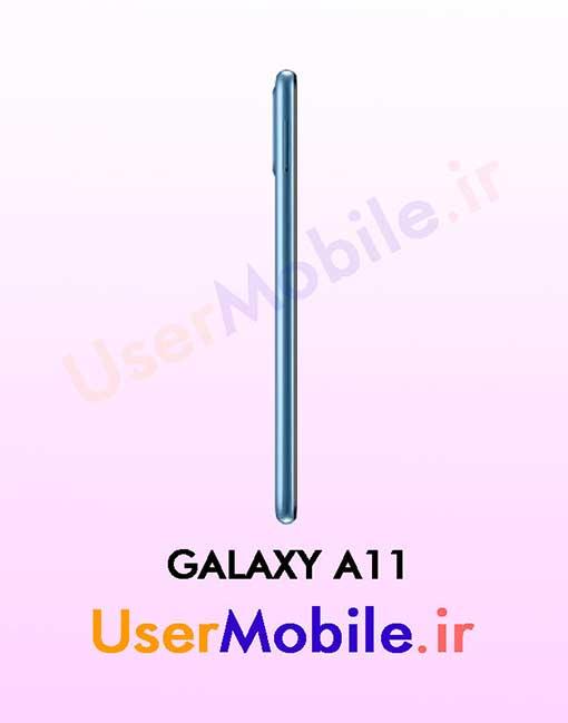 گوشی موبایل سامسونگ گلکسی A11 رنگ آبی از نمای بغل سمت چپ