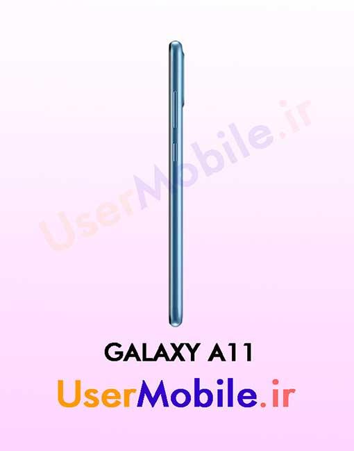 گوشی موبایل سامسونگ گلکسی A11 رنگ آبی از نمای بغل سمت راست