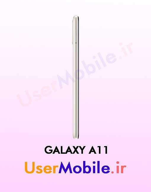گوشی موبایل سامسونگ گلکسی A11 رنگ سفید از نمای بغل سمت چپ