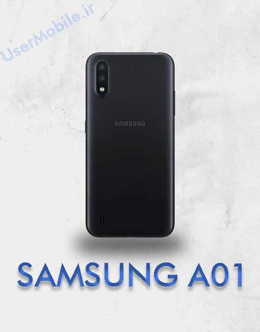 گوشی سامسونگ گلکسی A01 رنگ مشکی نمای پشت Galaxy A01 Black Color Back