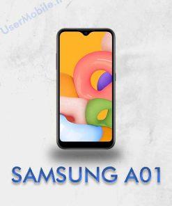 گوشی سامسونگ گلکسی A01 رنگ مشکی نمای روبرو Galaxy A01 Black Color Front